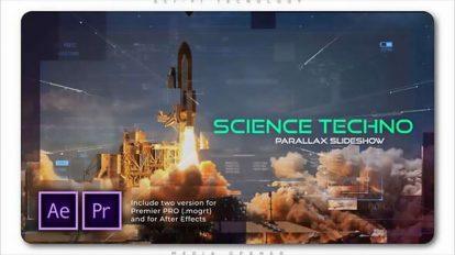 پروژه پریمیر اسلایدشو پارالکس علمی Science Techno Parallax Slideshow