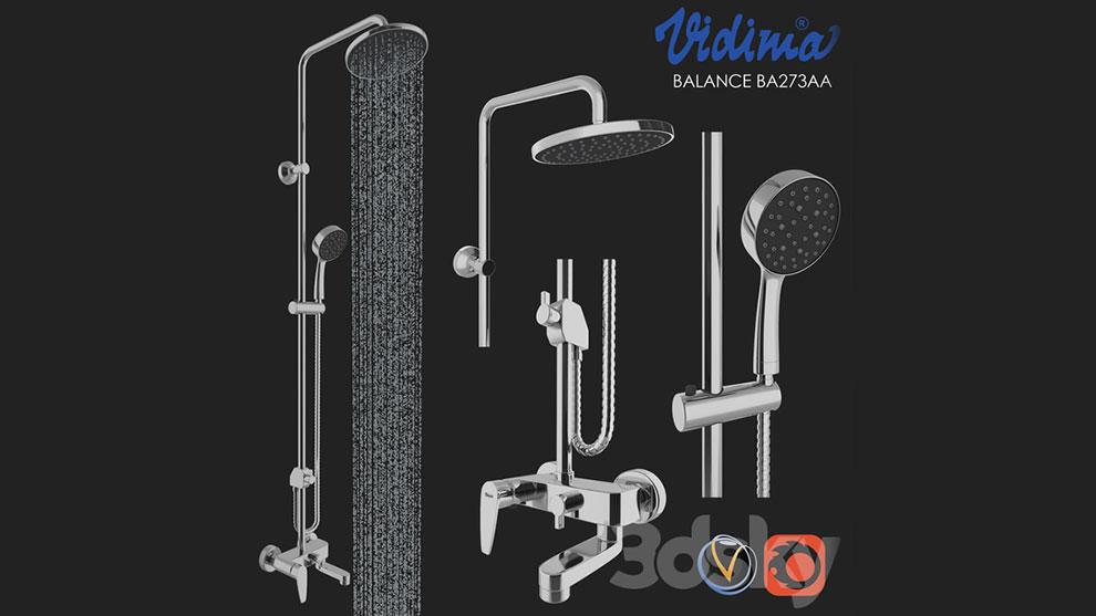 مجموعه مدل سه بعدی دوش حمام Shower Vidima Balance