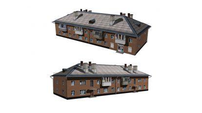 مدل سه بعدی ساختمان مسکونی دو طبقه Residential Building