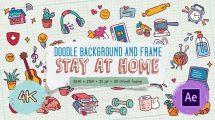 پروژه افترافکت مجموعه انیمیشن آیکون دستی Doodle Background and Frame
