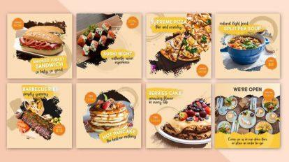 پروژه افترافکت پست های شبکه اجتماعی غذا Food Social Post v14