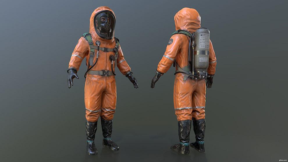مدل سه بعدی لباس محافظ Hazmat Suit Model
