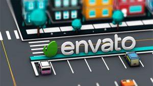 پروژه افترافکت نمایش لوگو در شهر Low Poly 3D City