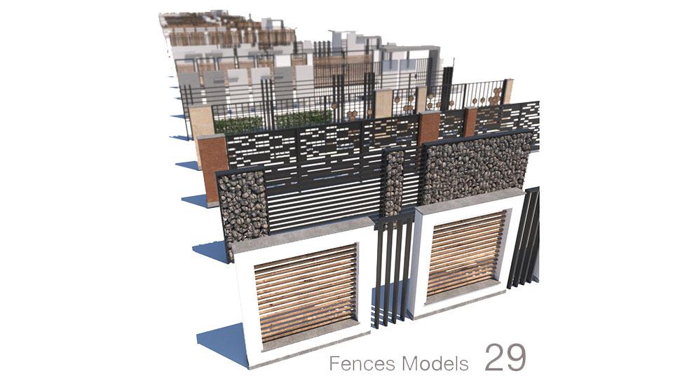 مجموعه مدل سه بعدی حصار مدرن Modern Fence Collection
