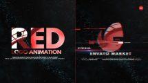 پروژه افترافکت نمایش لوگو با افکت گلیچ Red Logo Intro
