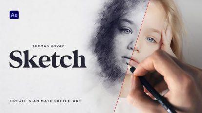 پروژه افترافکت جعبه ابزار ساخت افکت طراحی Sketch
