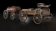 مدل سه بعدی کالسکه با بشکه Waggon with Barrel