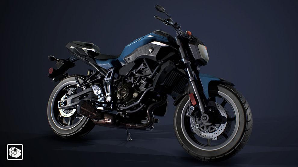 مدل سه بعدی موتور سیکلت Yamaha FZ-07