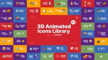 پروژه افترافکت مجموعه انیمیشن آیکون سه بعدی 3D Animated Icons Library