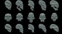 مجموعه مدل سه بعدی جمجمه فانتزی Fantasy Ornaments Skulls