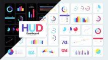 پروژه افترافکت اینفوگرافیک داشبورد HUD Dashboard Infographics