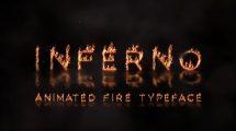 پروژه افترافکت نمایش متن با افکت آتش Inferno Animated Fire Typface