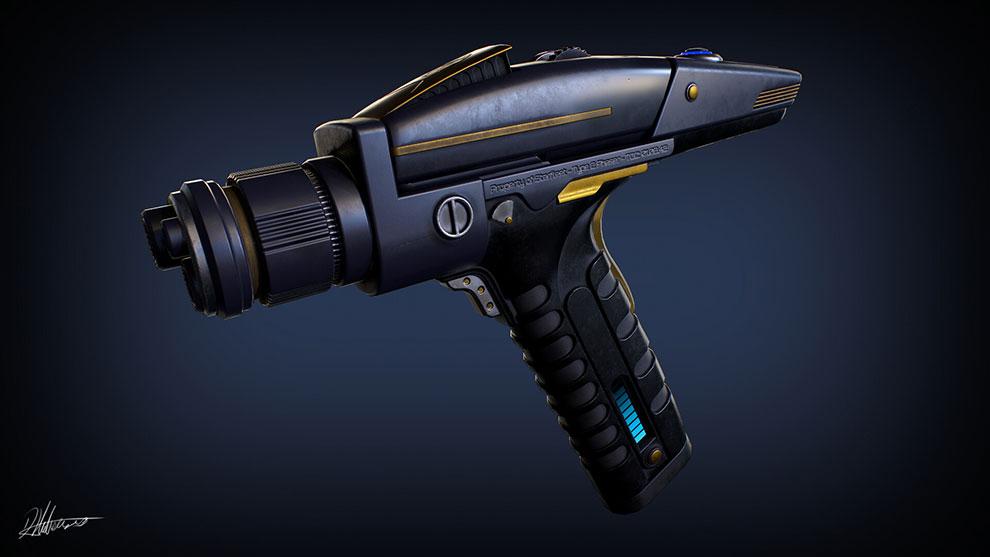 مدل سه بعدی اسلحه پیشرفته Phaser Type II Star Trek Discovery