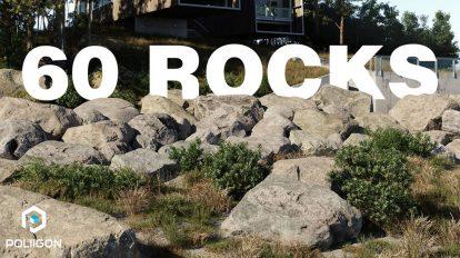 مجموعه مدل سه بعدی سنگ Poliigon Rock Models