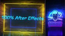 پروژه افترافکت نمایش لوگو گرانج Grunge Neon Intro