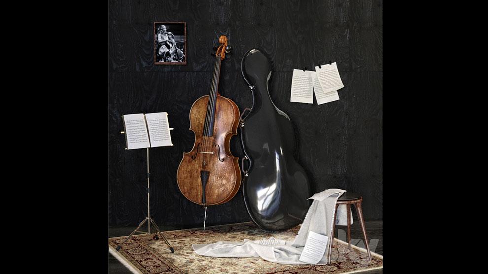 مدل سه بعدی ویولون سل با لوازم موسیقی Music Set with Cello
