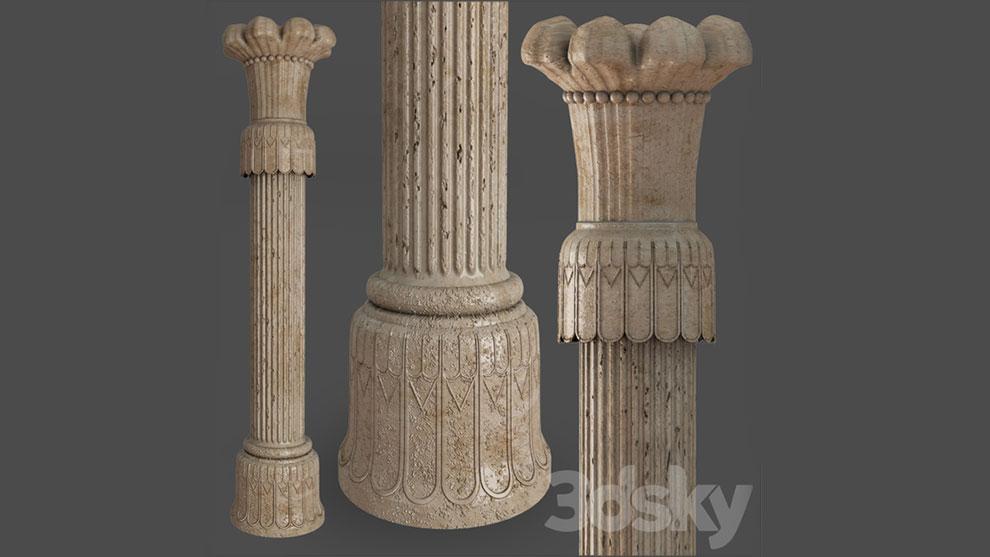 مدل سه بعدی ستون به سبک ایرانی Persian Column