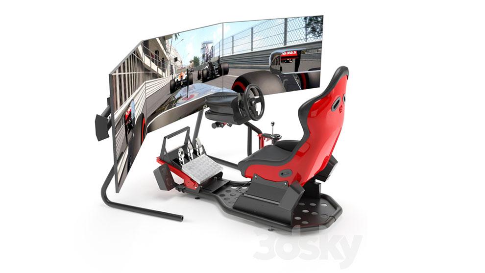 مدل سه بعدی دستگاه شبیه ساز مسابقه ماشین سواری Racing Game Simulator