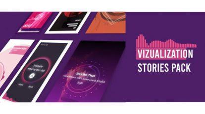 پروژه افترافکت مجموعه استوری اینستاگرام ویژوالایزر موزیک Visualizer Audio Stories