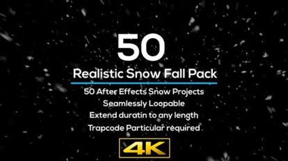 پروژه افترافکت مجموعه افکت واقعگرایانه بارش برف Realistic Snow Falls