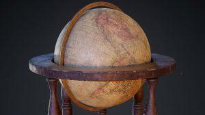 مدل سه بعدی کره زمین رومیزی قدیمی Antique Globe