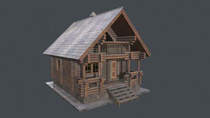 مدل سه بعدی خانه چوبی Bath House