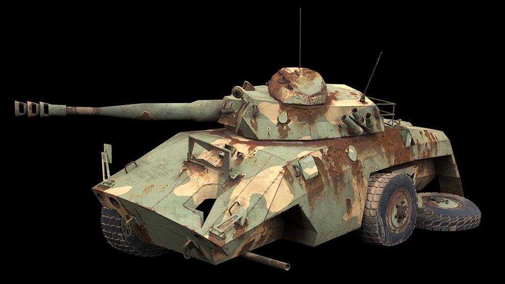 مدل سه بعدی تانک تخریب شده Damaged EE-9 Cascavel Tank