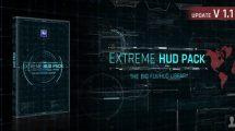 پروژه افترافکت مجموعه اجزای صفحه نمایش پیشرفته Extreme HUD Pack