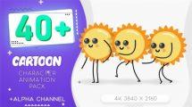 مجموعه فوتیج کاراکتر کارتونی خورشید Sun Cartoon Character Pack