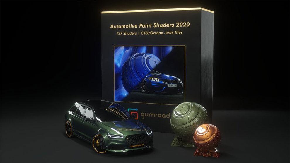 مجموعه متریال واقعگرایانه خودرو برای اکتان رندر Automotive Paint Shaders