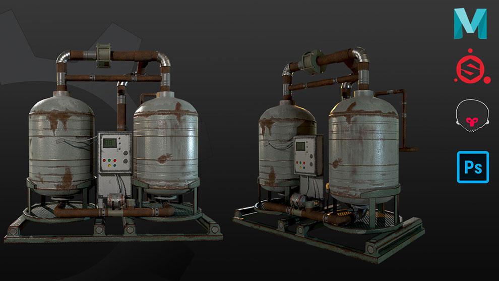 مدل سه بعدی تانک ژنراتور هیدروژن Nitrogen Generator Tank