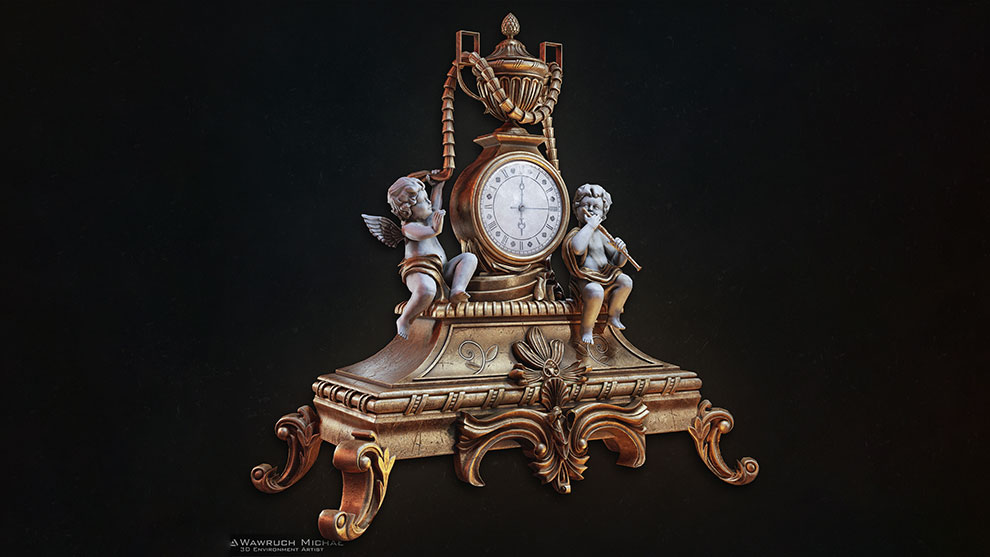 مدل سه بعدی ساعت رومیزی قدیمی Old Baroque Table Clock