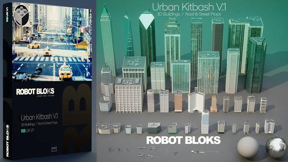 مجموعه مدل سه بعدی ساختمان شهری Robot Blocks Urban Kitbash