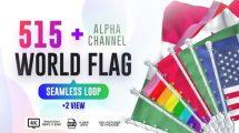 مجموع فوتیج لوپ پرچم کشورهای جهان Seamless Loop of World Flags