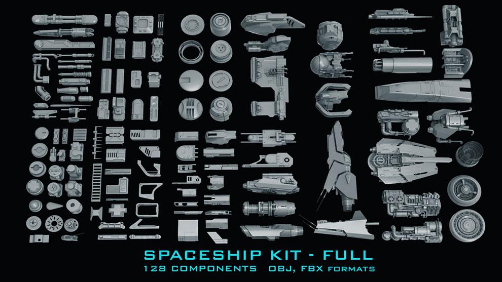 مجموعه مدل سه بعدی اجزای ساخت فضاپیما Spaceship Kit