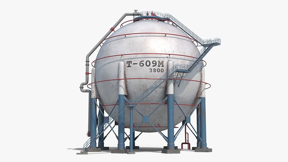 مدل سه بعدی تانکر Spherical Tank Container