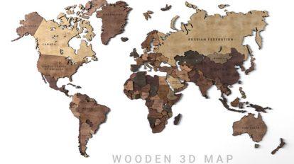 مدل سه بعدی ماکت چوبی نقشه جهان Wooden Panel World Map 2