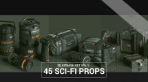 مجموعه مدل سه بعدی وسایل و جعبه پیشرفته Sci-Fi Props
