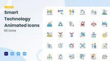 پروژه افترافکت مجموعه انیمیشن آیکون تکنولوژی Animated Smart Icons Technology
