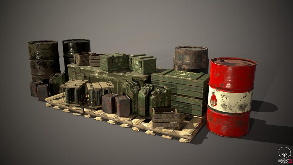 مجموعه مدل سه بعدی جعبه و بشکه نظامی Crates and Barrels Props Pack