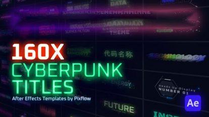 پروژه افترافکت نمایش عناوین سایبرپانک Cyberpunk Titles Lower Thirds