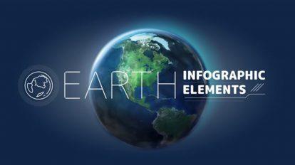 پروژه افترافکت اجزای ساخت اینفوگرافیک با کره زمین Earth Infographic Elements