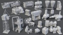مجموعه مدل سه بعدی اجزای کارخانه Factory Units 8