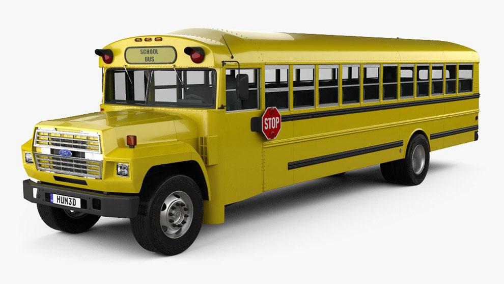 مدل سه بعدی اتوبوس مدرسه Ford B-700 Thomas Conventional School Bus