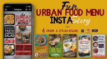 پروژه افترافکت استوری اینستاگرام غذا Fun Urban Food Menu Instagram
