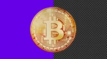 فوتیج موشن گرافیک چرخش بیت کوین Golden Bitcoin Loopable