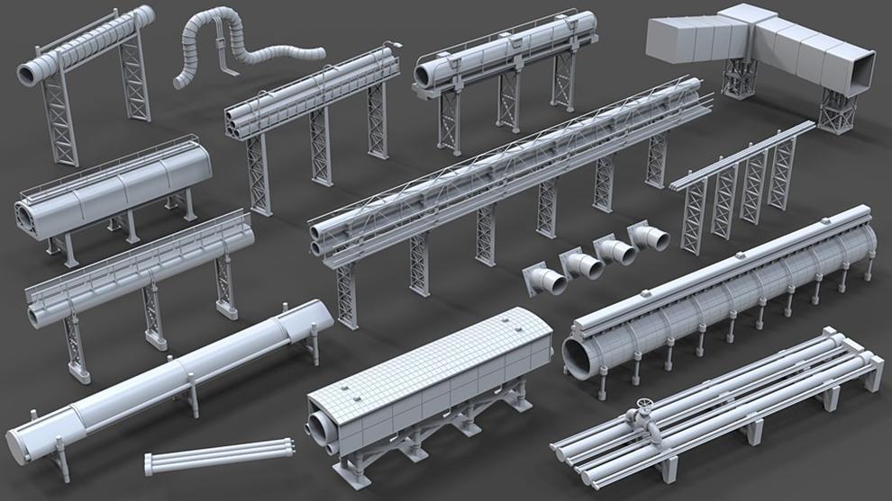 مجموعه مدل سه بعدی لوله های صنعتی Industrial Pipes