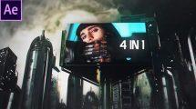 پروژه افترافکت صفحه نمایش سایبرپانک Cyberpunk City 4 in 1