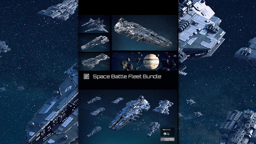 مجموعه مدل سه بعدی فضاپیما جنگی Space Battle Fleet Bundle