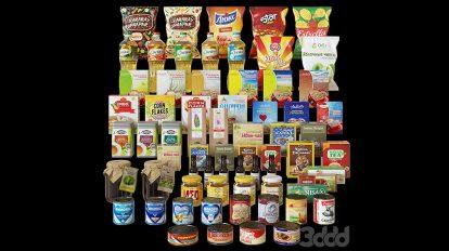 مجموعه مدل سه بعدی بسته بندی مواد غذایی Packaged Food